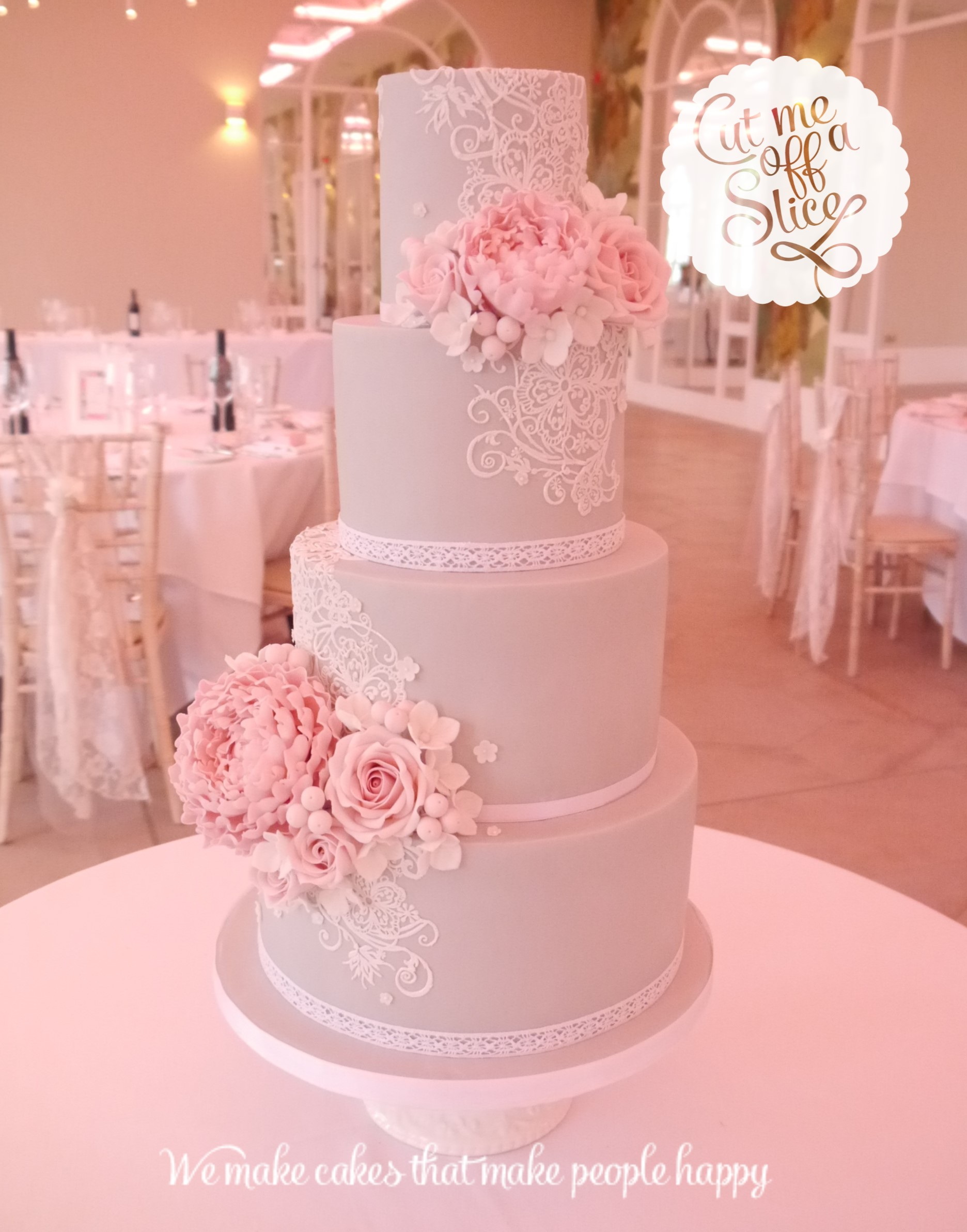 Pink And Grey Wedding Cakes