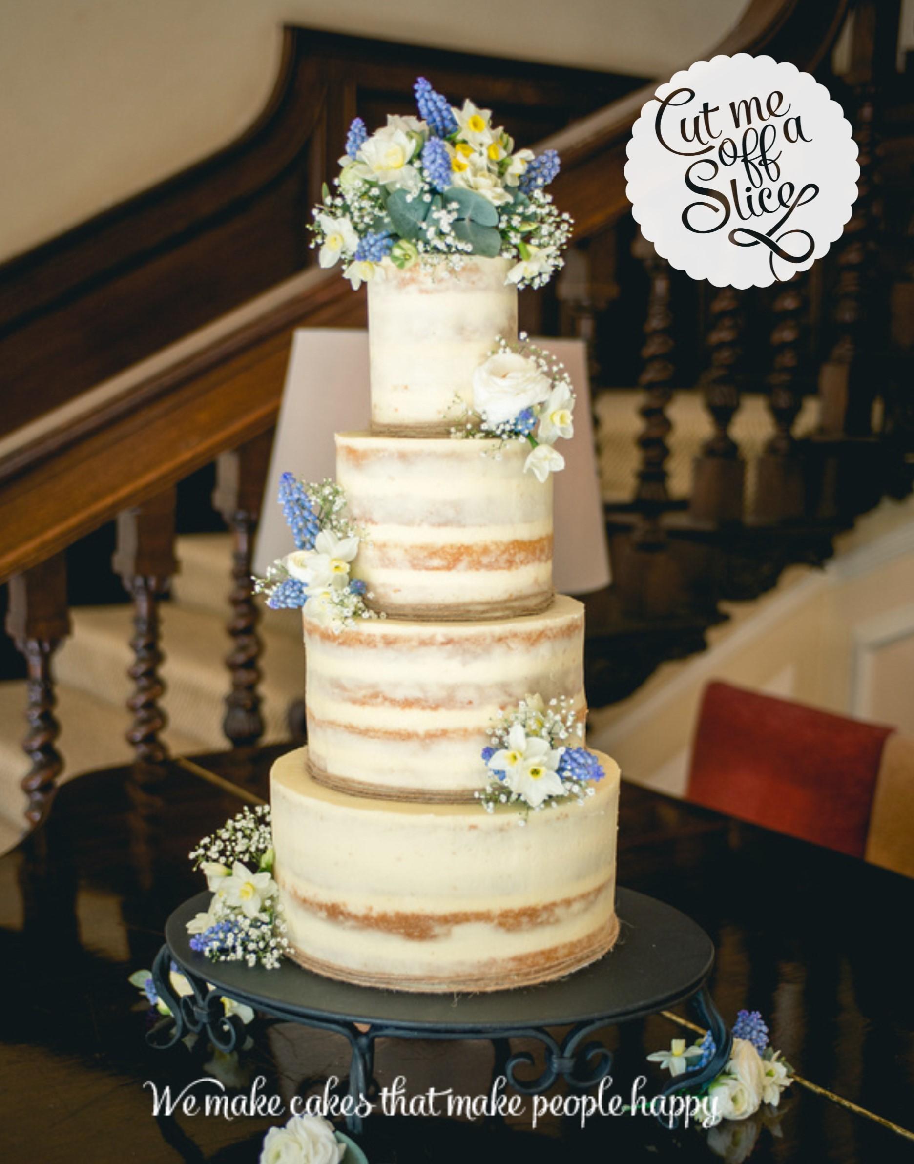 Metallics 4 Tier Semi Naked Wedding Cake 2