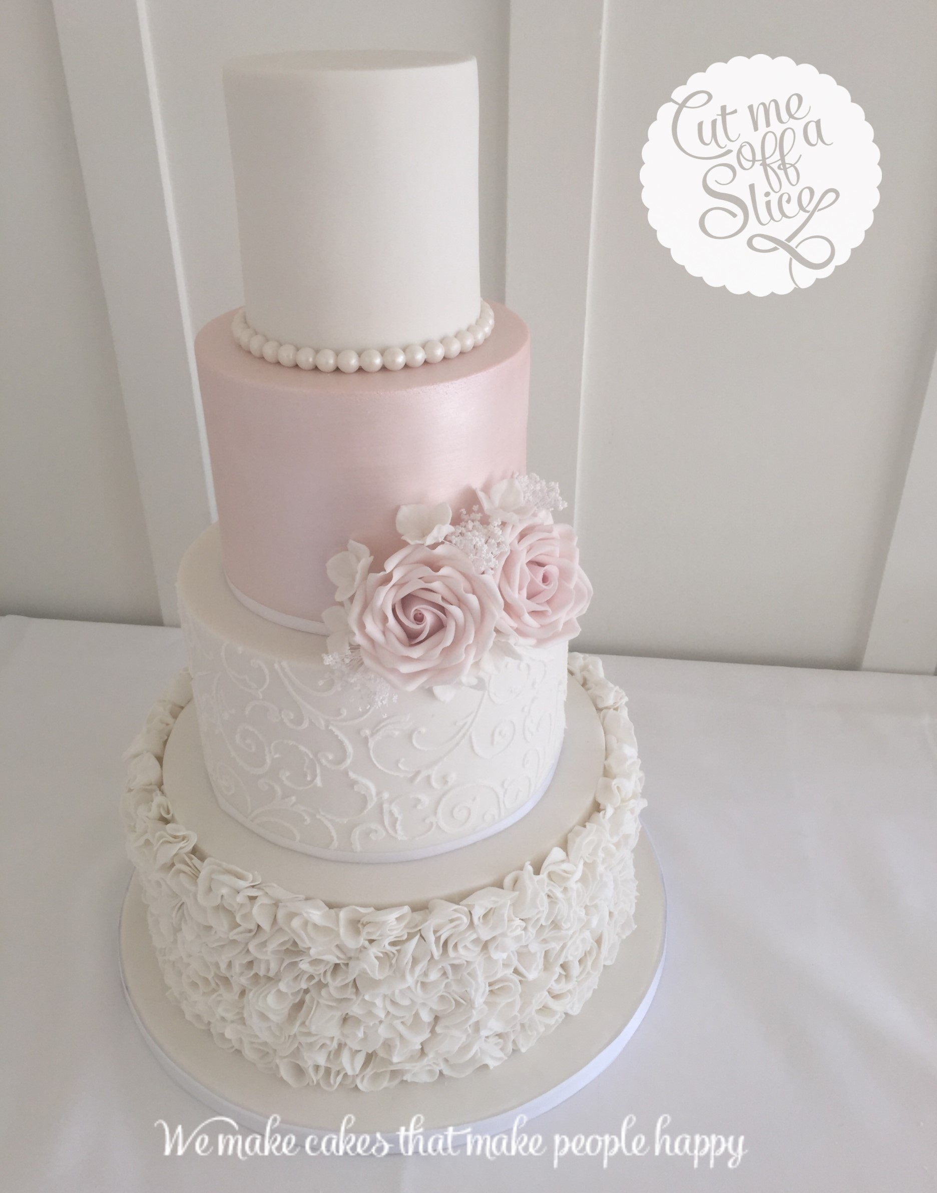 pink and white rose wedding cake bespoke wedding cake by cut me a slice 18557