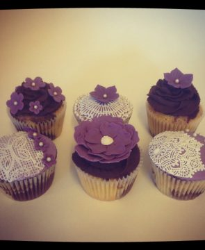 Purple, Lace and Flower Cupcake