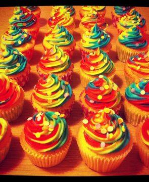Bright Colour Swirl Cupcakes