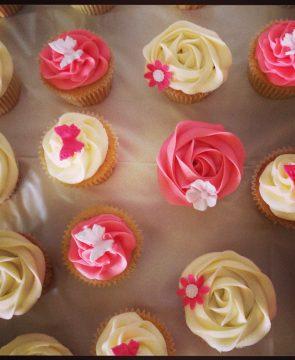 Pink and Cream Swirl Cupcakes.