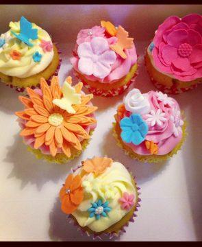 Bright Colour Flower Cupcakes