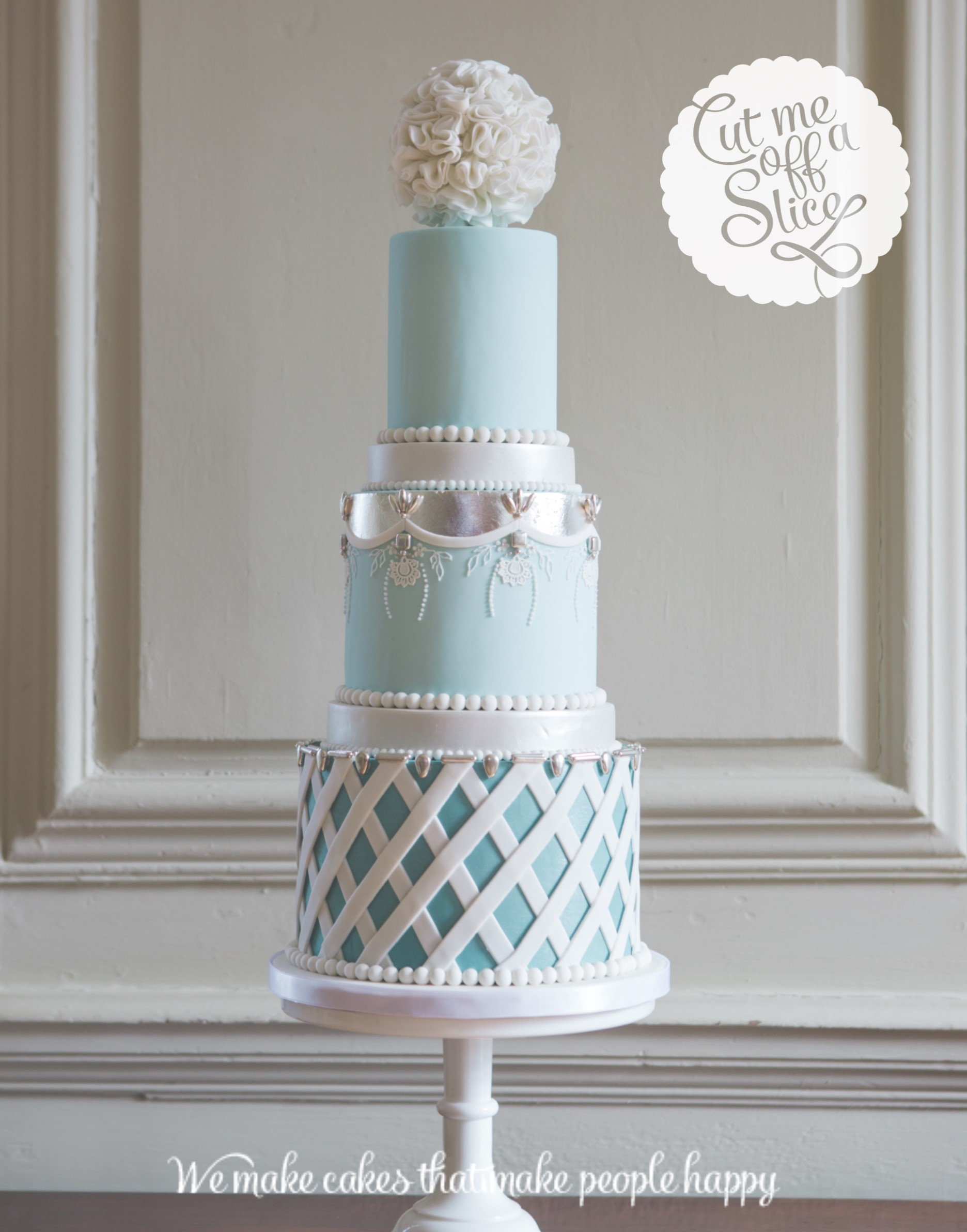 wedding cake blue and silver bespoke wedding cake by cut me a slice 22025