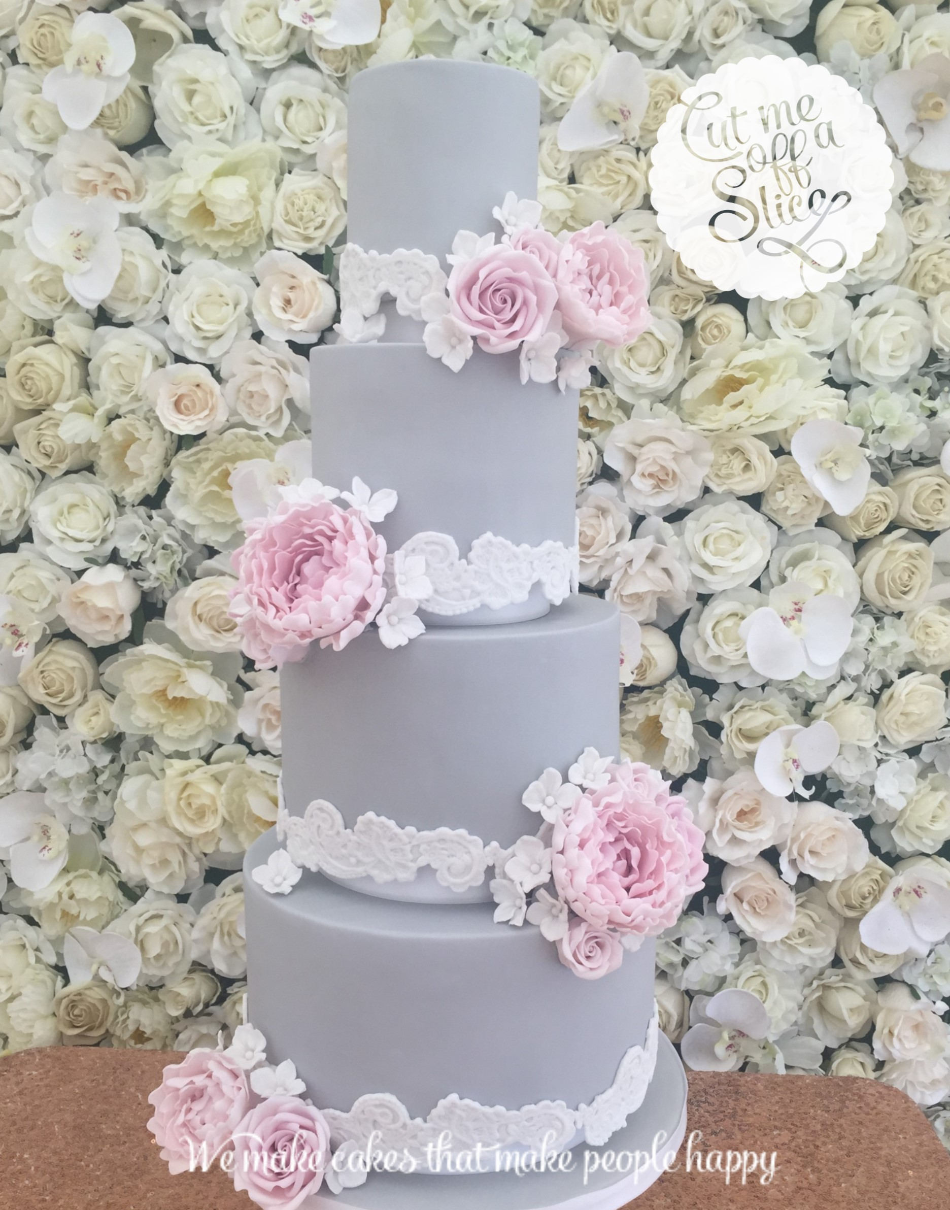 grey wedding cake with pink flowers inspiration for vintage wedding cakes and cupcakes in 14985