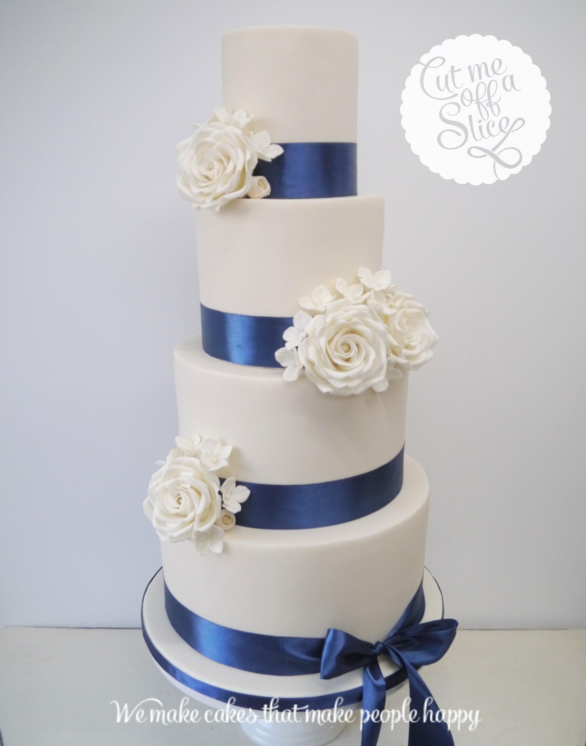 Fine Wedding Cake Navy Blue Ribbon Inspiration - Wedding Idea 2018 ...