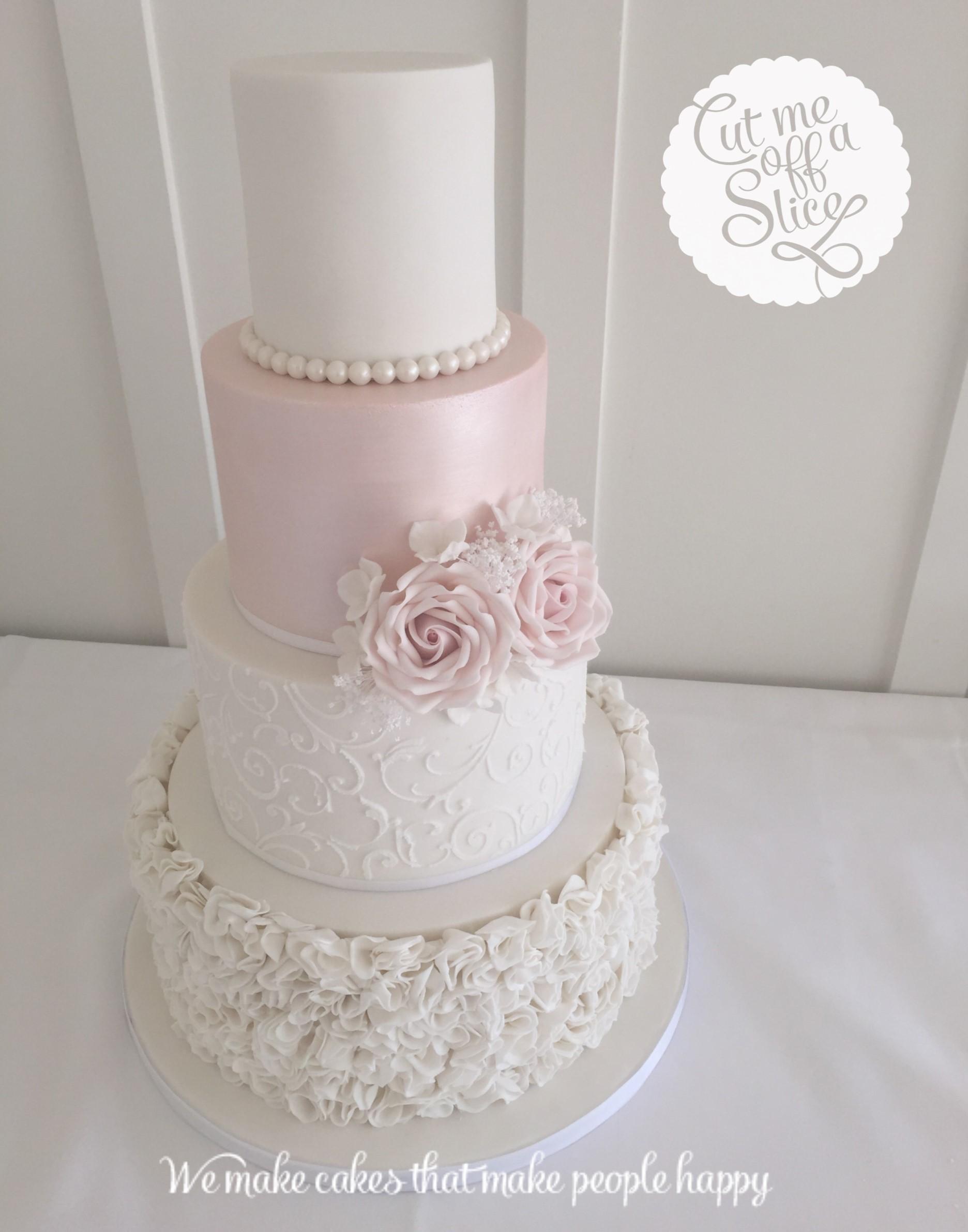 Painted Blue Roses Wedding Cake