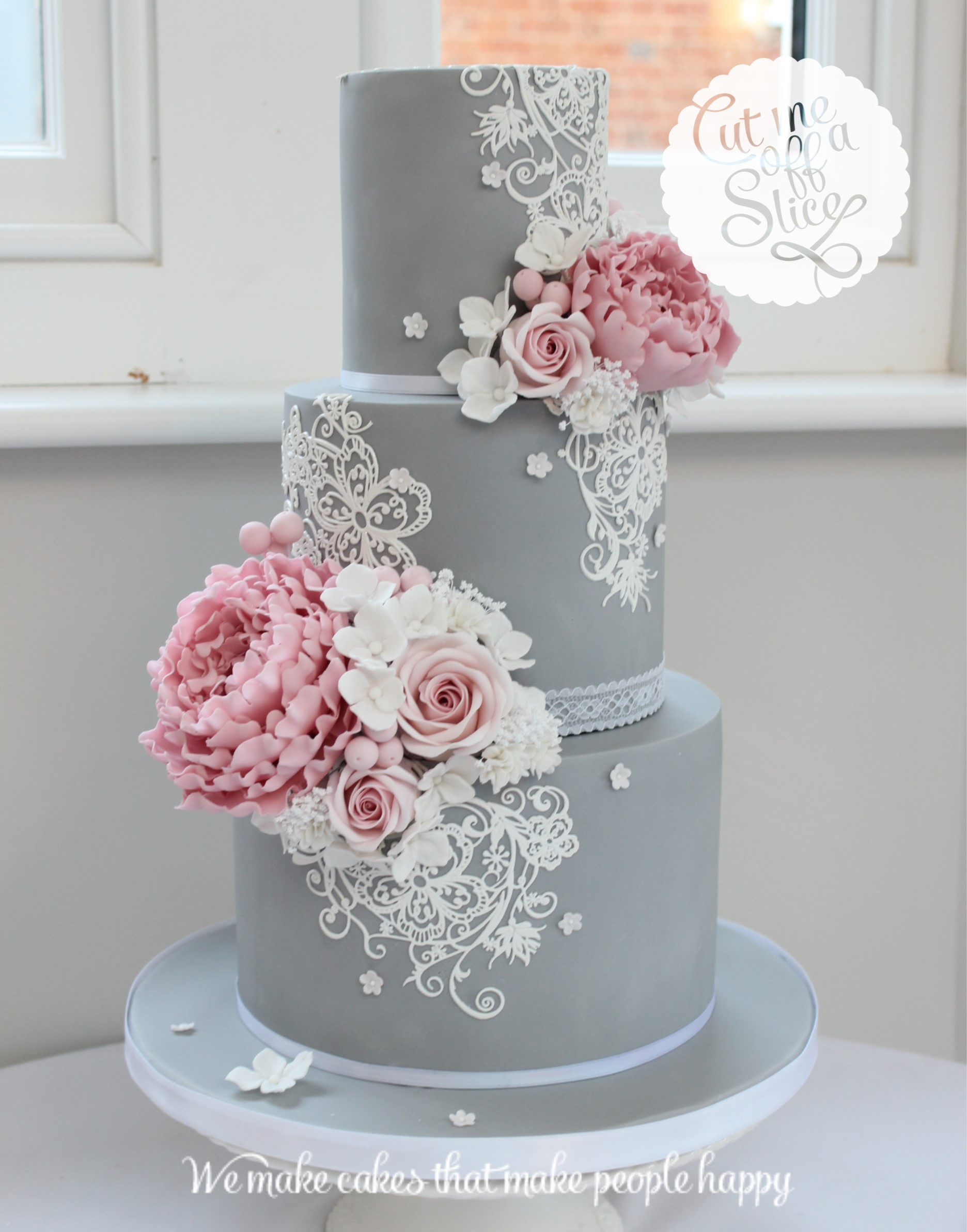 grey wedding cake with pink flowers bold and beautiful inspiration by cut me a slice 14985