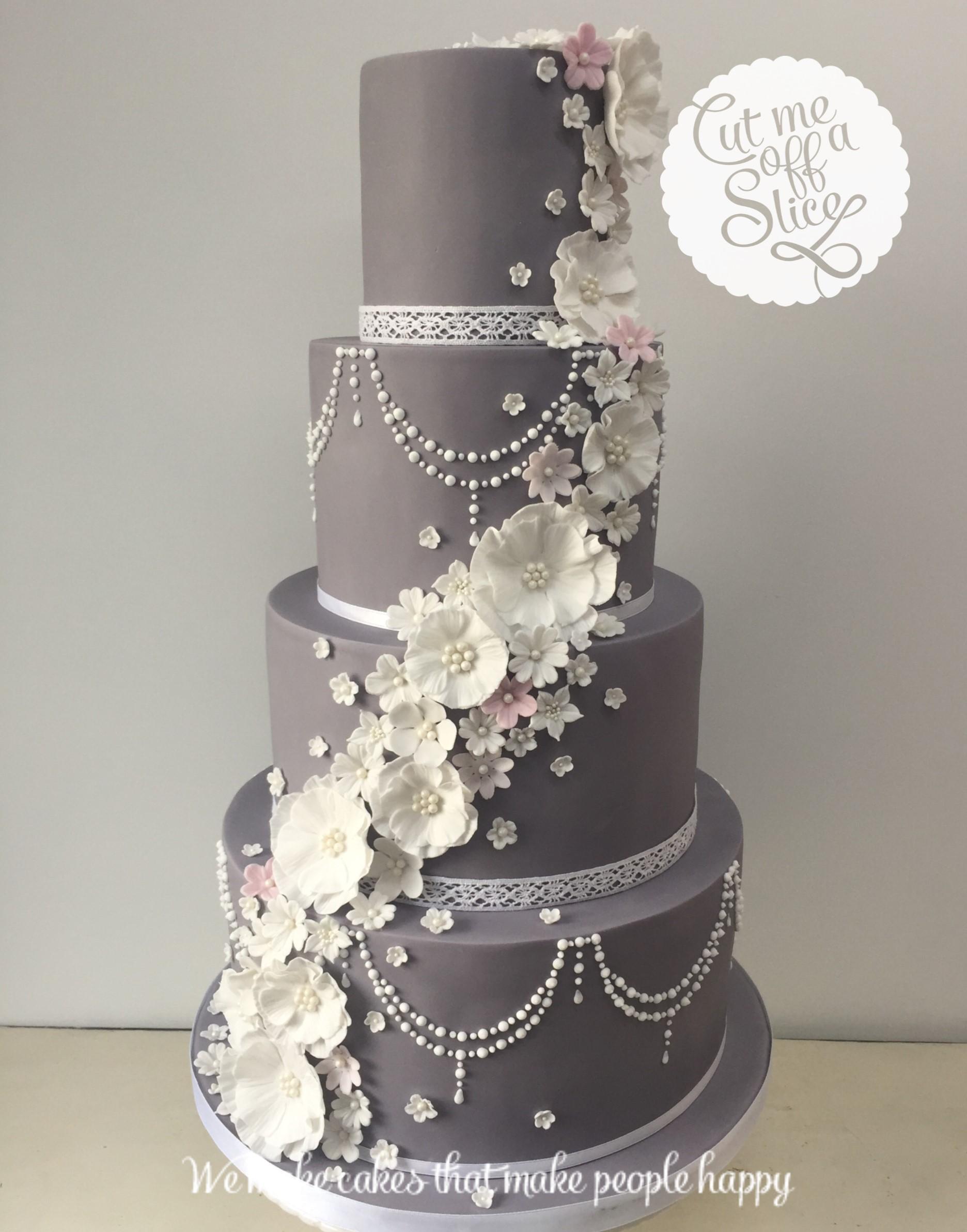 Pink White And Grey Wedding Cake Invitationjadi Co