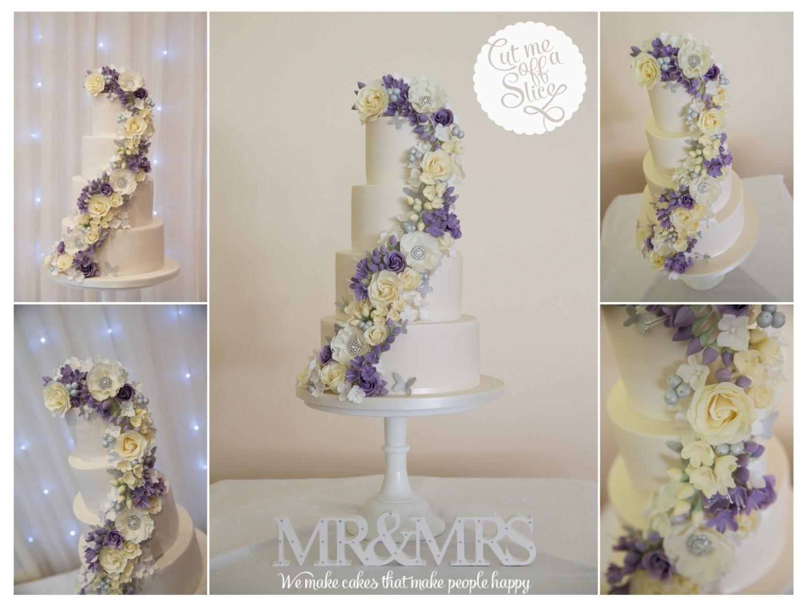 4 tier lilac and ivory cascade wedding cake, roses and freesias